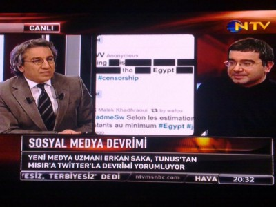 erk2 400x300 Erkan was on TV last night, briefly discussing social medias role on the uprising in Egypt and Tunis...