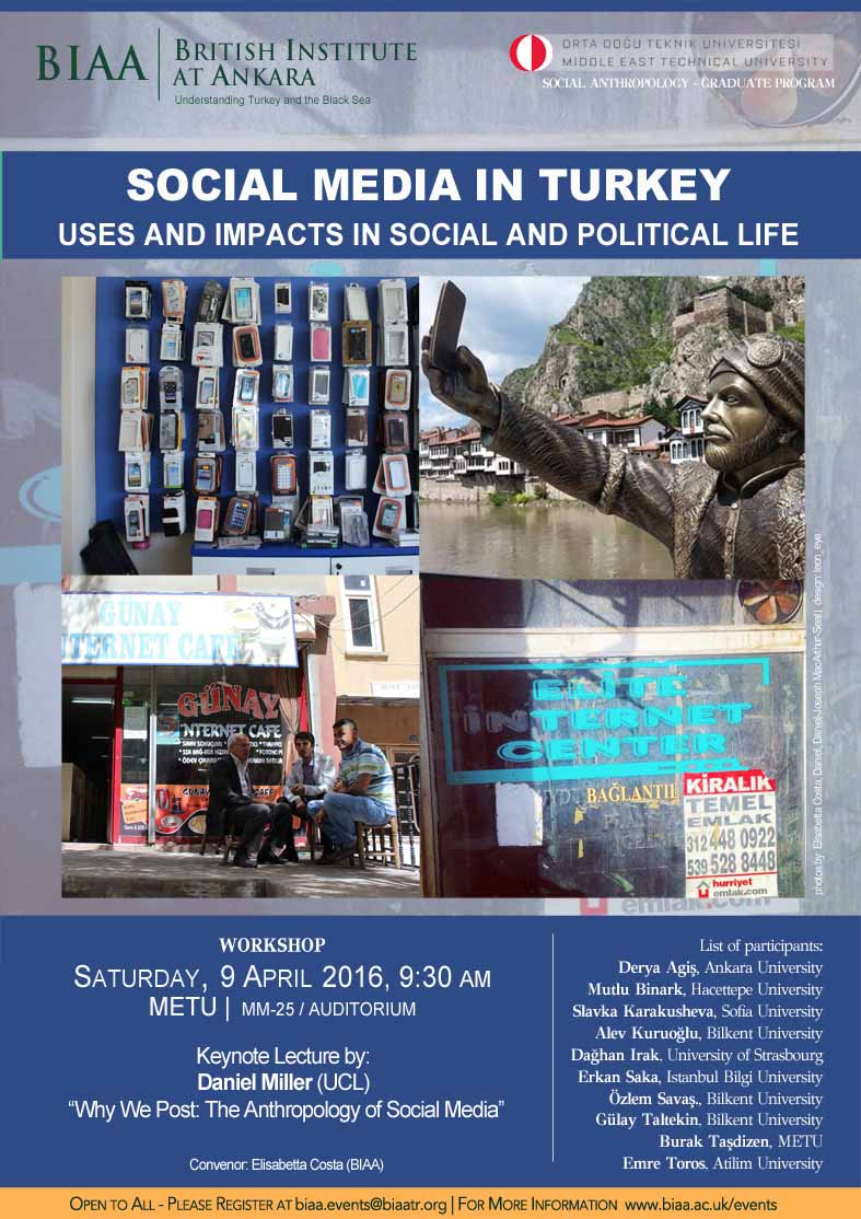 "Workshop in Ankara on 9 April, open to all: ""Social Media in Turkey: Uses and impacts in Social and Political Life"