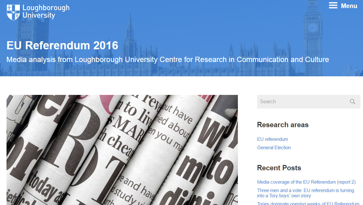 Media coverage of the EU Referendum report 2 Centre for Research in Communication and Culture