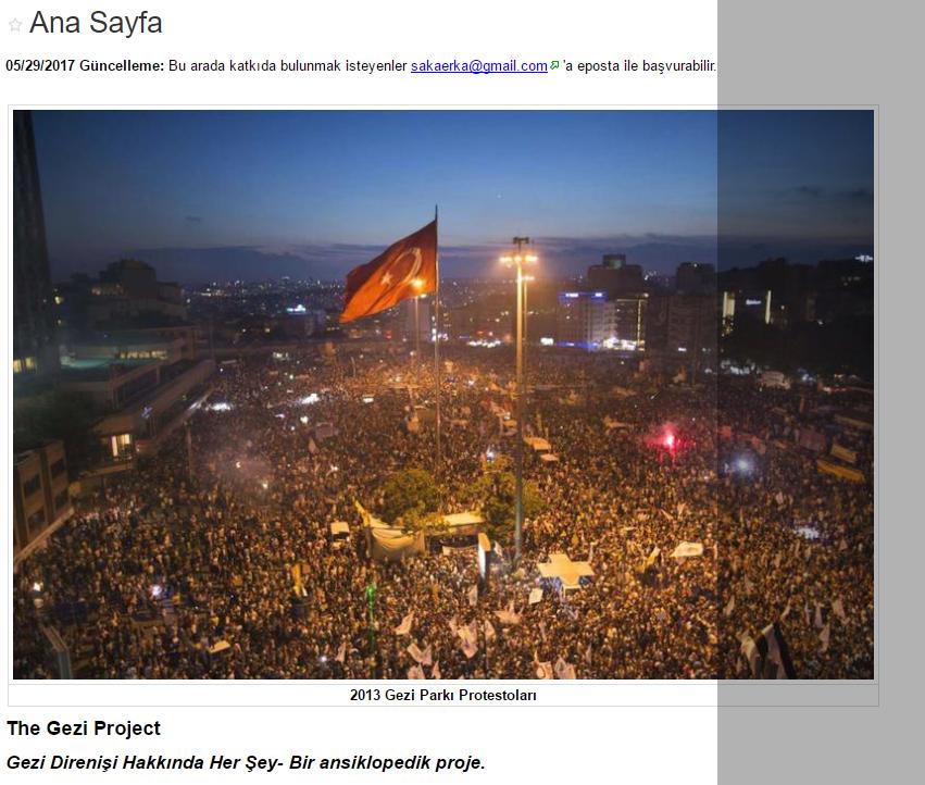 """Bir Wiki Projesi: """"The Gezi Project- Gezi Direnişi Hakkında Her Şey""""  #GeziParkı4Yaşında"""